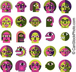 Mythic creatures collection, vector modern art Set of...