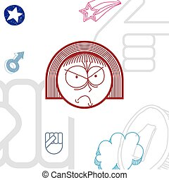 Vector art hand drawn illustration of personality, emotions...