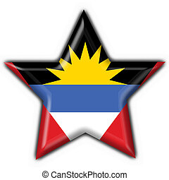 Antigua & Barbuda button flag star shape