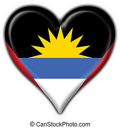 Antigua & Barbuda button flag heart shape