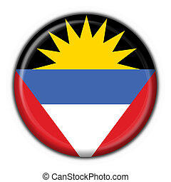 Antigua & Barbuda button flag round shape