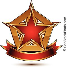 Golden vector stylized symbol with red star and glamorous...