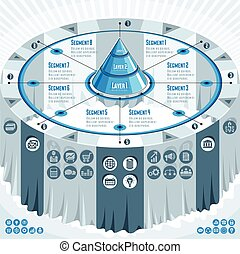 Creative infographics concept, 3d table with layered pyramid...