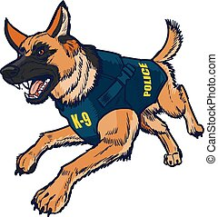 Police K9 German Shepherd Dog - Vector cartoon clip art...