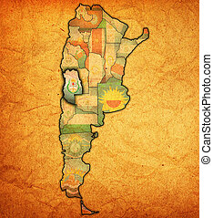mendoza region territory - mendoza region with flag on map...