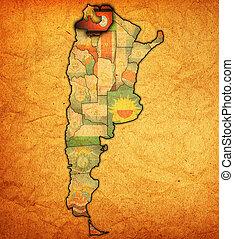 salta region territory - salta region with flag on map of...