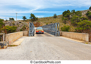 Famous truss bridge over Aradena Gorge, Crete Island, Greece