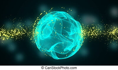 Abstract Motion Background with particles and sphere. Abstract animated motion background of spinning spheres with lines