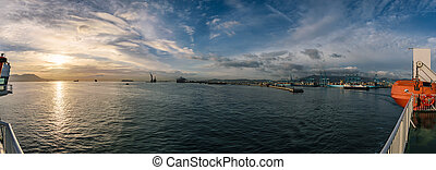 Port of Algeicras photographed from ferry, Spain - A...