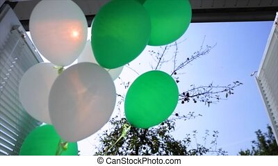 White and green balloons