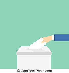 Voting. Hand puts the ballot in the ballot box