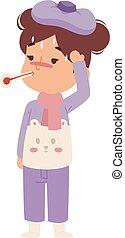 Sick children vector - Children sick sickness disease little...