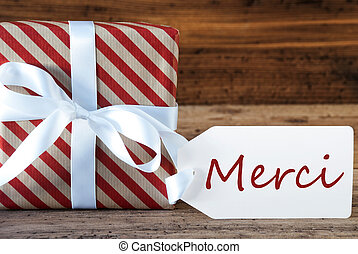 Present With Label, Merci Means Thank You - Macro Of...