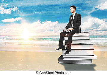 Educations concept - Businessman with laptop sitting on...