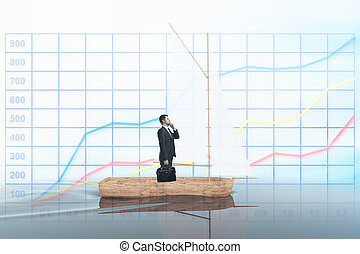 Thoughtful businessman on sailing boat - Wooden sailing boat...