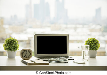 Windowsill workplace - Creative windowsill workplace with...
