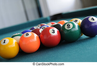 Pool Table Balls - getting ready to shoot pool table balls