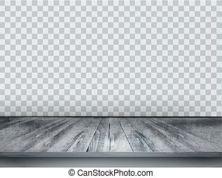Gray scale background with wooden floor and a transparent...