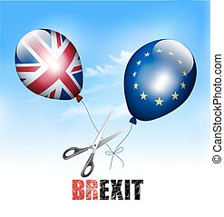 Brexit concept. Scissors cutting EU and UK balloons away...