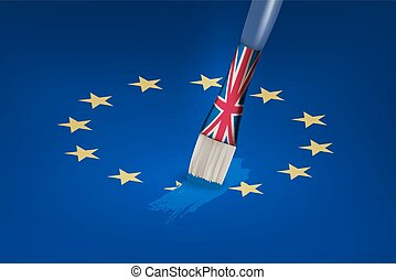 Brexit concept UK brush painting over a EU star Vector
