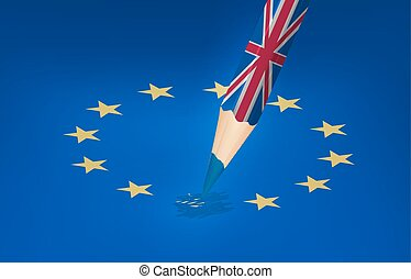 Brexit concept. UK pencil drawing over a EU star. Vector.