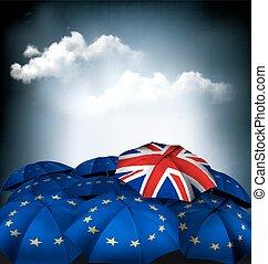 Brexit concept Union jack umbrella between EU umbrellas...