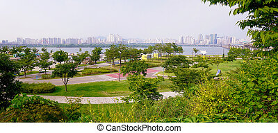 Han river park - Panorama of Han river park in Seoul