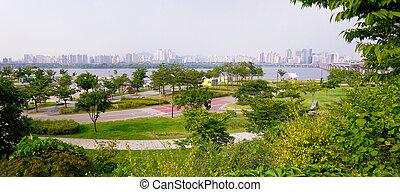 Han river park - Panorama of Han river park in Seoul