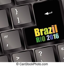 laptop computer wireless keyboard top view with keys, vector illustration. Brazil Rio 2016 words on it