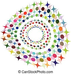 Vector Abstract Halftone Circle Frame - Colorful Design
