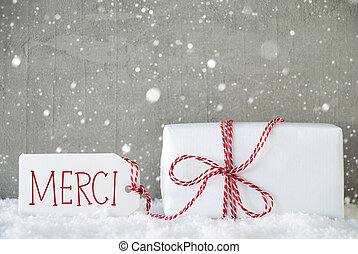 Gift, Cement Background With Snowflakes, Merci Means Thank...
