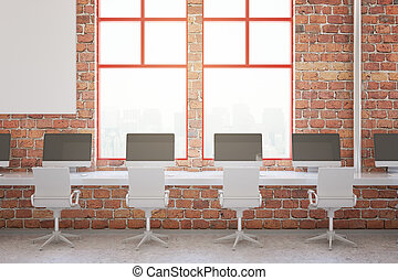 Red brick office interior - Red brick coworking office...