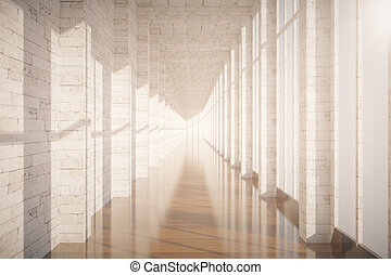 Brick corridor interior - Corridor interior with brick wall,...