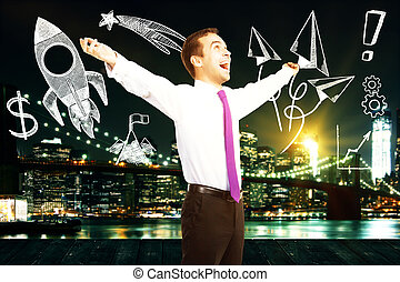 Successful startup concept with businessman celebrating...