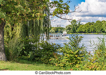 Alster Lake in Hamburg Germany on a summer day