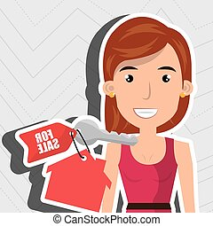 woman house key rent vector illustration graphic