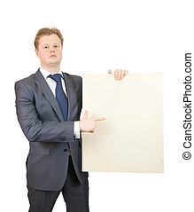 Businessman holding a canvas - Businessman in business...