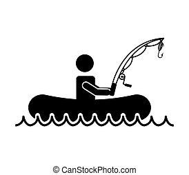 man person hobby fishing icon