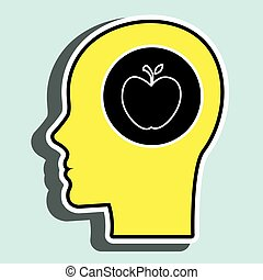 silhouette head apple fruit vector illustration graphic