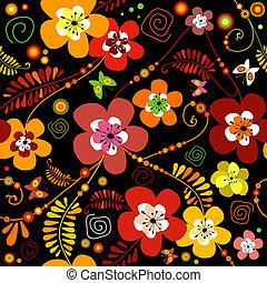 Seamless black flower patter - Motley seamless black flower...