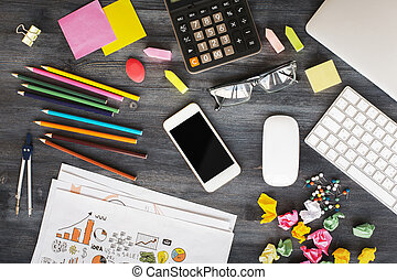 Messy office desk - Creative messy office desktop with blank...