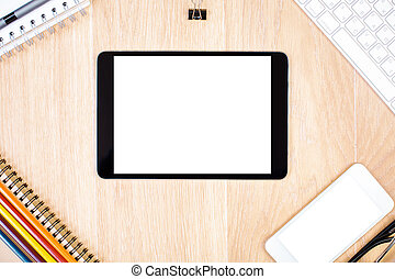 Technology and stationery items - Closeup and top view of...