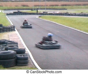 video  of go-karting - video of go-karts circling race track