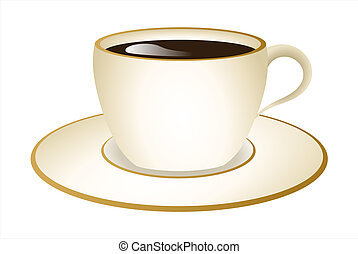 Cream & Gold Cup of Coffee Vector - Vector illustration of...