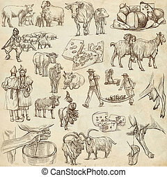 agriculture, cheese - hand drawn full sized pack -...