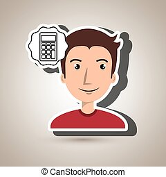 man adul young calculator vector illustrationeps 10