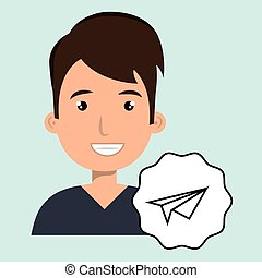man adul young aeroplane paper vector illustration