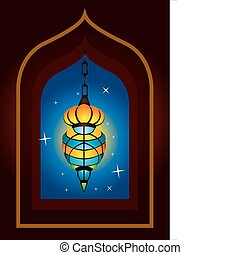 Intricate arabic lamp with moon cre