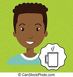 man adul young cup coffee vector illustration