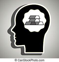 silhouette head gold ingot